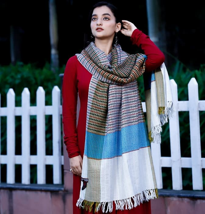 Stole Almora Pattern Pure Marino Wool White Mix Stripes