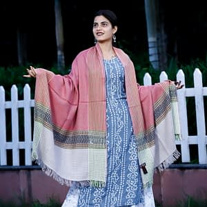 Stole-Pure-Marino-Kumaon-Pattern-Pink-White-Black-Border