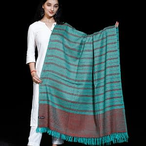 Shawl Pure Merino Border Kumaon Pattern Sea Green