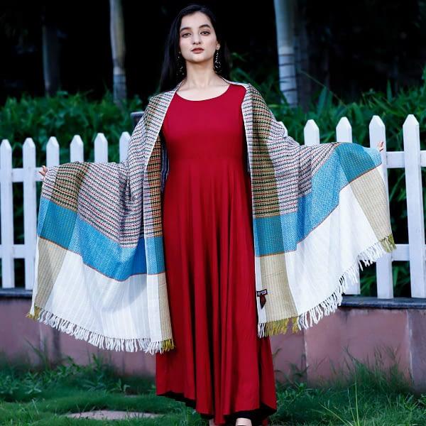 Stole Almora Pattern Pure Marino Wool White Mix Stripes