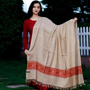 Shawl Angoora Kullu Pattern Cream