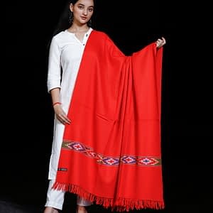 Shawl Pure Merino Wool Kullu Pattern Diamond Border Centre Plain Red